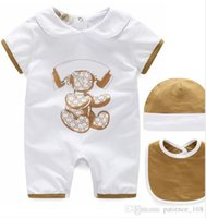 Wholesale Cartoon Sleeves - Hot selling new arrivals fall baby kids climbing romper high quality cotton short sleeve cartoon printed summer romper +hat 0-2T