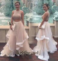 Wholesale Evenning Gowns - 2015 Fabulous Two Pieces Long Prom Dresses Round Neck Crystal Beaded A-line Satin Ruffles Champagne Tulle Court Train 2016 Evenning Gowns