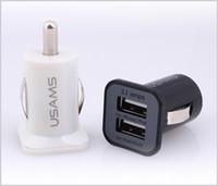 cargador de coche usb de doble puerto al por mayor-USAMS 3.1A Cargador de coche Cargador USB de doble puerto Adaper 5V 3100mAh para iPhone Samsung HTC MQ100