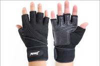 guantes de cuero marrón al por mayor-Guantes tácticos de los hombres guantes de la aptitud del medio dedo cuero de la microfibra de la palma sin resbalón deportes al aire libre / guantes de entrenamiento M / L / XL negro / marrón
