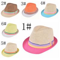 Wholesale Kids Fedora Hats Wholesale - Double color colorful summer jazz Korean boy girl sun visor cap hat children fedora hat kids sunhats summer girls boys hat kids caps
