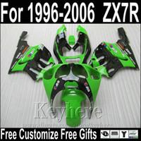 Wholesale Kawasaki Ninja Zx7 Fairings - Hot sale motorcycle fairings for Kawasaki ZX7R green black fairing kit 1996-2003 ZX7 Ninja ZX750 96-03 MNA87