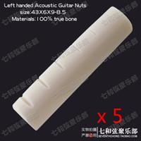 Wholesale Acoustic Left Handed - Free Shipping 5 pcs Left handed Bone Nut for Acoustic folk Guitar,Backhand Acoustic Guitar Nut 43 x 6 x 9-8.5mm