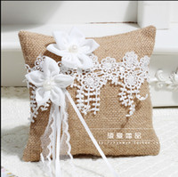Wholesale Lace Ribbon Ring Pillow - Bohemian Lace Ring Pillows With Flowers Beaded Ribbon Bow flaxen Champagne Pillows For Rings Bride And Groom