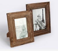 Wholesale Wooden Photo Frame Albums - Wood Photo frames Solid wood walnut veneer picture frames home decoration Retro Antique Finish