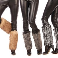 Atacado-Moda Loose Black Leg Warmer Womens moda Faux Fur Inverno Legging meias