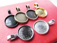 Wholesale Cabochon Bail Settings - 200pcs Round Frame Base Bezel Setting Tray Pendant Charm Finding,fit 14mm Cabochon Picture Cameo,Big Bail Hook,6 Colors