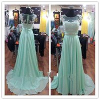 Wholesale Prom Dresses Long Mint Green - Real Beautiful Mint Lace Chiffon Long Bridesmaid Dresses Scoop Floor-length Full Back Cap Sleeve Prom Dresses with Beaded Evening Gown