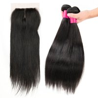 Wholesale Double Lace Top - 7A Brazilian Hair 3Bundles with 1 Top Lace Closure 8-26inch Double Weft Human Hair Extensions Dyeable Remy Virgin Hair Weave Straight Wavy