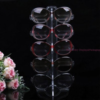 Atacado 50Pcs / lot Portable Clear Acrylic 5 pares óculos de sol Display Holder Rack Glasses Stand Frame Foldable Eyeglasses display