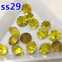 Wholesale Color Citrine Rhinestone - Wholesale-288pcs ss29 Point Back Rhinestones Citrine Lemon Yellow Color pointback crystal rhinestone glass strass chaton stone
