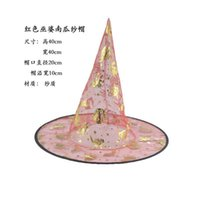 Wholesale wizard hat wholesale - 2016 new Halloween witch hats Easter hat Halloween Party Propsl Costumes decoration Wizard Party Hats For Children Adult