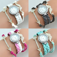 Wholesale Leather Moustache Watch - Hot Infinity Watches Fashion Infinity Bracelet Watches Lady Charms Bracelet Watches Moustache Sword Charms Wrist Watches Mix Color