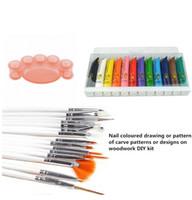 Wholesale Pallet Art - Wholesale-Free Shipping Professional 12 Colours 3D Manicures Set Nail Art Paint Brush Pen Pallet Tool Kit Sets