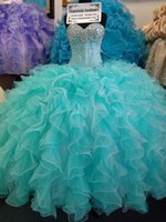 Wholesale Cheap Aqua Beads - Custom Made Aqua Quinceanera Ball Gowns Dresses For Sweet 16 Cheap Sweetheart Crystal Organza Masquerade Fashion Ragazza Dress Vestidos 15