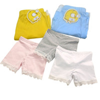 Wholesale Wholesale Lace Tights - summer fashion girls cotton short leggings lace short leggings for girls lace safety pants shorts baby girl short tights high quality