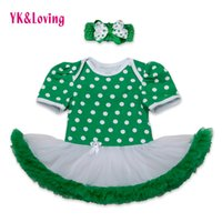 Wholesale Tutu St - Wholesale- St Patricks Day Girls Cotton Dress Romper Ruffle Jumpsuit Tutu Dress Green Newborn Clothes Set for St.Patrick's Day Party RD143S
