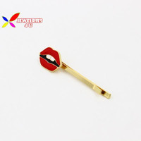 Wholesale Eyes Hairpin - Wholesale-2015 hot fashion Japanese stylish hot red lip enamel eye Hairpins bridal hair jewelry for women accessories grampos de cabelo
