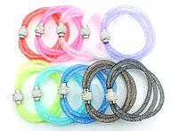 Wholesale Multi Color Beaded Bracelets - Hot Sale Link Bracelets Filled Crystal Mesh Fashion 10 Color Multi Strand Infinity Magnetic Bracelets Jewelry
