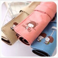 Wholesale Scroll Pencil Case - Wholesale-Scroll roll pencil case stationery cartoon nostalgic vintage stationery