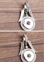 Wholesale Wholesale Jewelry Basket Pendants - White Blue Flower Basket NOOSA Ginger Button Pendant Necklace 2 Colors Snap Jewelry can DIY Interchangeable Jewelry