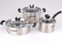 Cheap Wholesale-FREE SHIPPING Stainless steel cookware set milk pot steamer soup pot gift set
