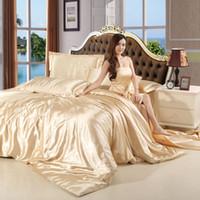Wholesale Black Silk Comforter Sets - muchun Brand Christmas Bedding Sets Imitation Silk Solid 4 pcs Comforter Duvet Cover Bed Linen Jacquard Home Textiles