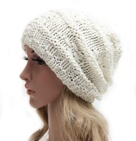 Wholesale Lighted Hats For Sale - Hot Sales Women Warm Cute Beanie Baggy Shape Soft And Pure Light Color Chunky Cotton Knitted Free Shipping 2 Color For You