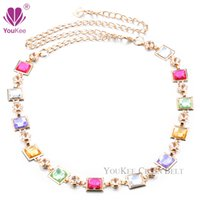 Wholesale Rhinestone Chain Belts For Women - New Brand 3 Colors Colorful Rhinestone Chain Belt For Women Belts & Accessories Belts High Quality Ceinture Homme (BL-665) YouKee Belt