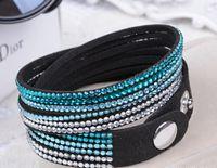 Wholesale Mix Color Braided Leather Bracelet - 30pcs shamballa Crystal Bracelet Jewelry TOP Quality PU Braided Leather Bracelet Fashion European Bead Bracelet Jewelry Mix Color Free