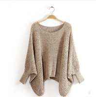 Wholesale Poncho Knitwear - Women Poncho Sweater Ladies Knitted Pullover Sweater Casual Solid Winter Dresses Fashion 2016 Female Knitwear Cotton Outerwear
