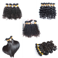 Wholesale 6a unprocessed weave online - 6A Unprocessed Brazilian Virgin Hair Body Loose Deep Wave Curly Straight Hair Weave Extensions Natural Color