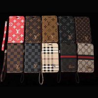 Wholesale Function Print - For iphone X luxury brand printing leather case iphone 7 7plus 8 8plus with card slot function lanyard suit iphone 6 6S 6plus