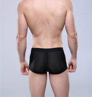Wholesale Silk Mens Men Underwear - Breathable Mesh Silk Men's Boxer Four Corner Underwear Wholesale New 2016 Underwear Men Mens Bodysuit Underwear
