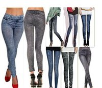 Wholesale Wild Girls Sexy - Hot Fashion Sexy Womens leggings Girls Thin wild snow Imitation Jeans leggin Trousers Nine minutes of Pants