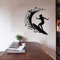Wholesale Surf Decoration - Surfing Wall Stickers Home Decor Sports Vinyl Wall Decals Removable Nursery Wall Decoration