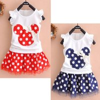 Wholesale Kids Minnie Mouse Outfit - 2016 New Hot Sale Baby Girls Minnie Mouse Princess Dresses Girls Birthday Party Outfit Girls Bow Dresses Red Dot Kids Clothing