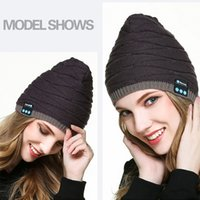 Wholesale knitted apple hats - Bluetooth Music Hat Soft winter Warm Beanie Cap With Stereo Headphone Headset Speaker Wireless Microphone Headgear Knitted Cap for phone