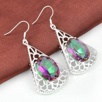 Wholesale Rainbow Silver Crystal Earrings - 2015 Sale Jaquetas Femininas Wholesale Price -- 2pairs Lucky Shine Oval Rainbow Mystic Topaz Gems 925 Sterling Silver Plated Drop Earrings