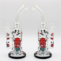 Wholesale Hookah Pipes Cheap - Oil Rigs Glass Bongs Tall 31cm Cartoon Circulate Smoking Water Pipes Print Tire Perc Joint 18.8mm Cheap Hookahs Free shipping
