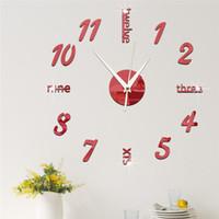 horloge acrylique d'expédition gratuite achat en gros de-2017 nouvelle arrivée quartz diy horloges modernes aiguille acrylique montres grand mur horloge miroir autocollant salon décor livraison gratuite