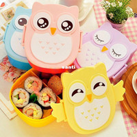 Wholesale lunch storage - Cartoon Owl Lunch Box Food Fruit Storage Container Portable Bento Box children gifts