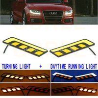 Wholesale Led White Lights For Truck - New COB LED DRL Daytime Running Lights White with Turning Signal Lights Yellow Amber for car trucks
