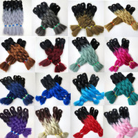 Wholesale Synthetic Bulk - Kanekalon Synthetic Braiding Hair Bulk 24inch 100g Ombre Two Tone Color Jumbo braid twist Ombre hair Extensions 23colors