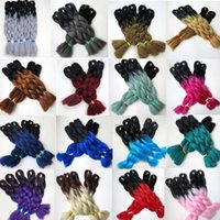 Wholesale ombre braiding hair online - Kanekalon Synthetic Braiding Hair Bulk inch g Ombre Two Tone Color Jumbo braid twist Ombre hair Extensions colors