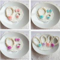 Wholesale Wholesale Children Jewelry - Children Jewelry Sets For Girls Flowers Imitation Pearl Bracelets Ring Ear Clips Eardrop 2Sets Lot Free Shipping
