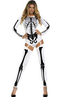 Wholesale White Catsuit Women - Red White Bad To The Bone Halloween Skeleton Costume sexy s8948 sex costumes for women new spring fantasia sexual