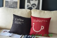 "Wholesale Wholesale Linen Canvas Pillow Covers - 18"" Linen Cotton Coffee Time Canvas Cushion Covers Pillow Case Home Cafe Decor Chistmas Gift 45cm"