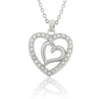 Wholesale Double Heart Crystal Necklace Pendant - Valentine's Day Gifts Double Heart Necklace Crystal DIY Jewelry Pendant Necklaces Rhodium Plated Link Chain 30pcs lot
