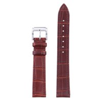 Wholesale Hook Buckle Price - 18MM Brown High Quality Genuine Leather Wrist Watch Band Women Men Watch Leather Strap Steel Buckle Low Price